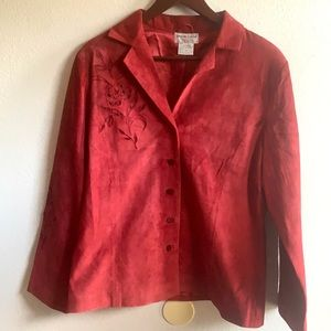 Victor Costa Suede Embroidered Jacket Sz M